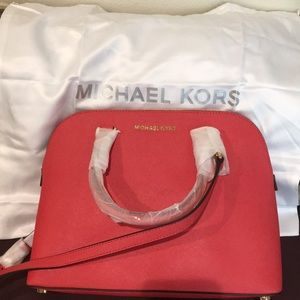 NWT Michael Kors Cindy Lg Dome Leather Satchel